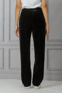 Full Leg Pull On Pant with Rhinestone Side Detail - Black