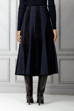 Load image into Gallery viewer, Ernst Corduroy and Suede Pleated Skirt - Dark Navy
