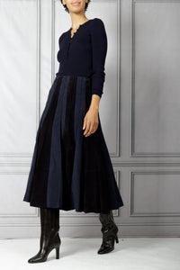 Ernst Corduroy and Suede Pleated Skirt - Dark Navy