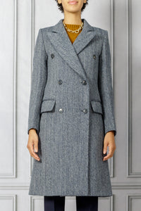 Double Breasted Coat - Navy White