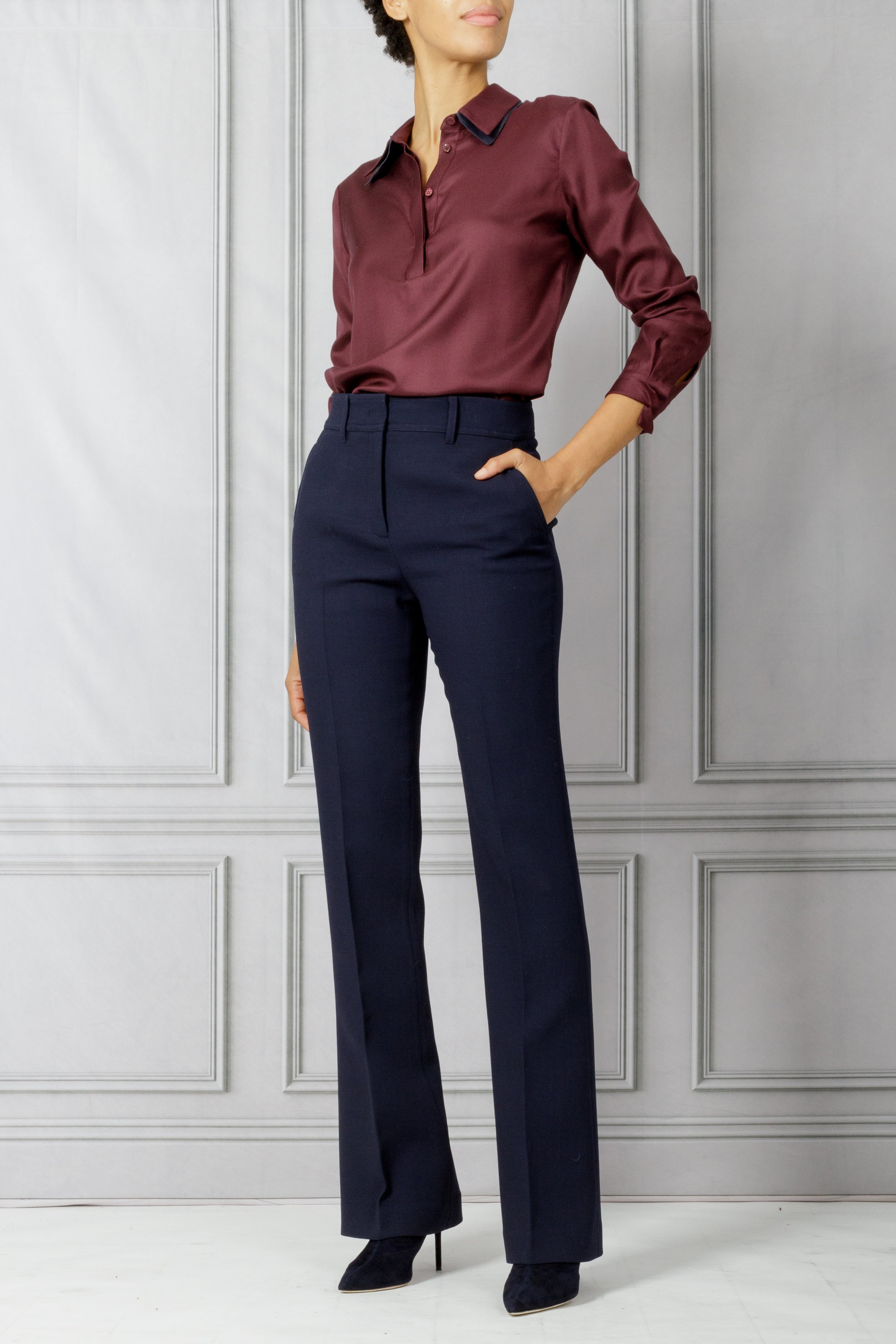 Maslin Double Collar Shirt - Beste Burgundy