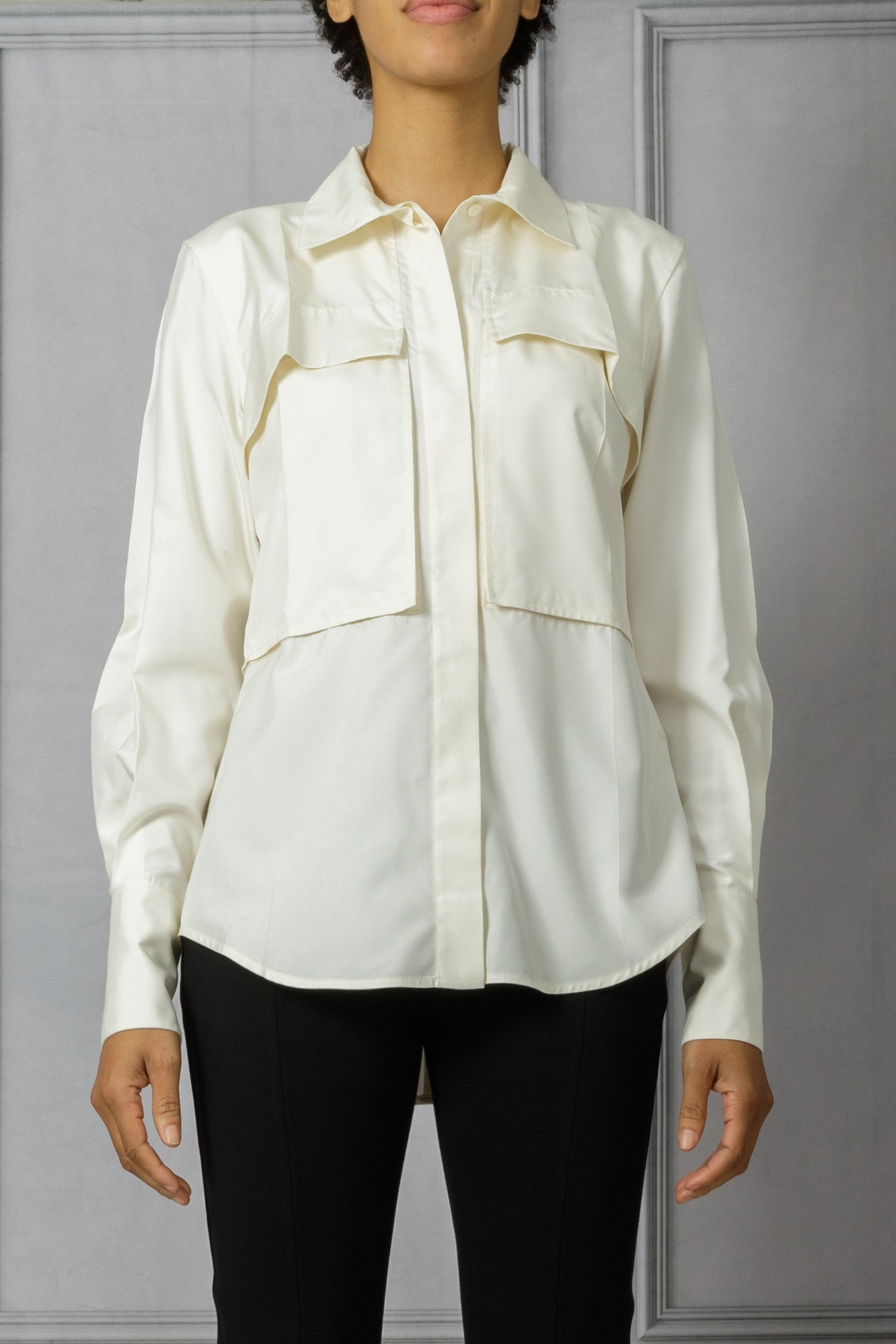 Funnel Neck Patch Pocket Button Down Shirt - Off White