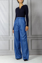 Load image into Gallery viewer, Vargas Belted Wide Leg Pant - Cobalt Herringbone