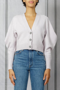 Cropped Knit Cardigan with Drape Sleeve - Lilac