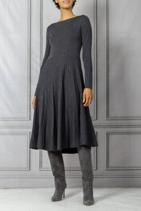 Waisted Plisse Bottom Knit Dress - Anthracite