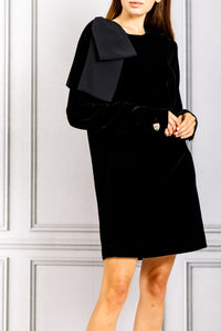 Long Sleeve Shift Dress with Bow on Shoulder - Black