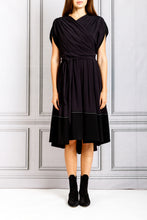 Load image into Gallery viewer, Cross Front Short Flare Dress - Black