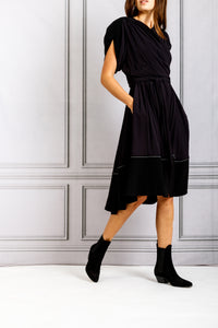 Cross Front Short Flare Dress - Black