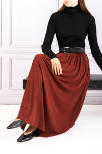 Jersey Full Skirt with Belt - Cinnamon