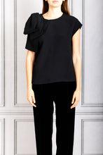 Load image into Gallery viewer, Shoulder Bow Cap Sleeve Top - Black