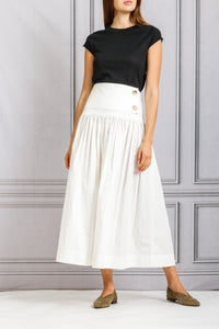 Ruched Peasant Skirt with Button Yoke Detail - White