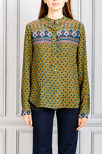 Load image into Gallery viewer, Pasia Collarless Printed Button Up Blouse - Bronze