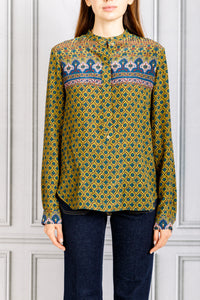 Pasia Collarless Printed Button Up Blouse - Bronze