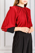 Load image into Gallery viewer, Full Sleeve Drape Neck Blouse - Bordeaux