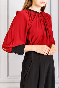 Full Sleeve Drape Neck Blouse - Bordeaux