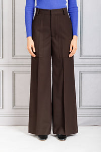 Patch Pocket Full Leg Pant - Umber
