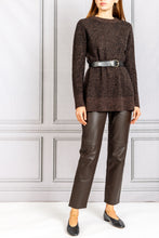 Load image into Gallery viewer, Long Slim Crewneck Knit Speckled Sweater - Umber Melange