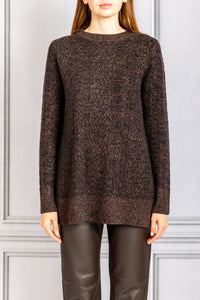 Long Slim Crewneck Knit Speckled Sweater - Umber Melange