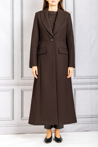 Long Single Button Blazer Coat - Umber