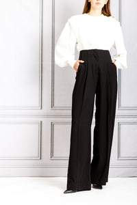 High Waisted Pleat Front Pant - Black