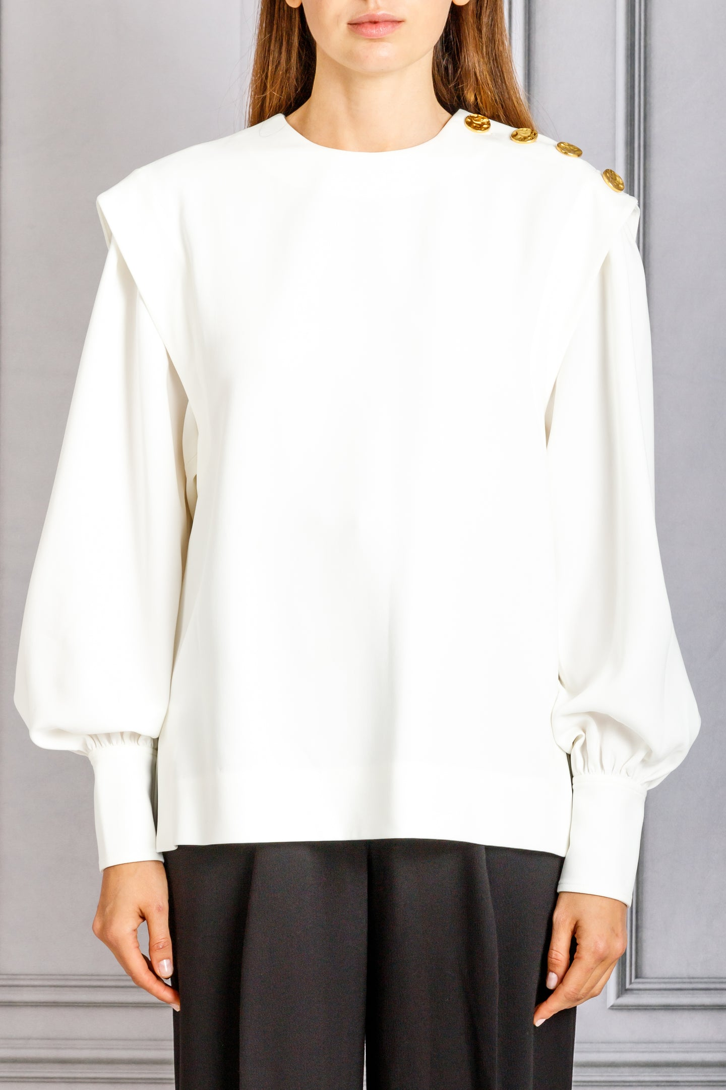Crewneck Long Sleeve Blouse with Side Shoulder Button Detail - White
