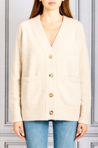 V Neck Oversized Knit Cardigan - Sand