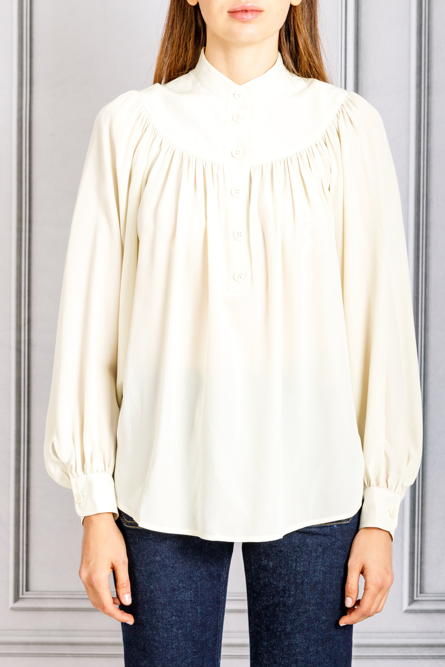 Pamina Gathered Yoke Button Blouse - Ecru
