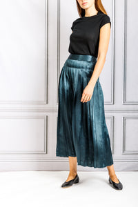 Crinkled Pleated Skirt - Teal
