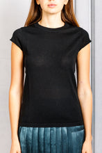 Load image into Gallery viewer, Haiti Crewneck Cap Sleeve Knit Top - Black