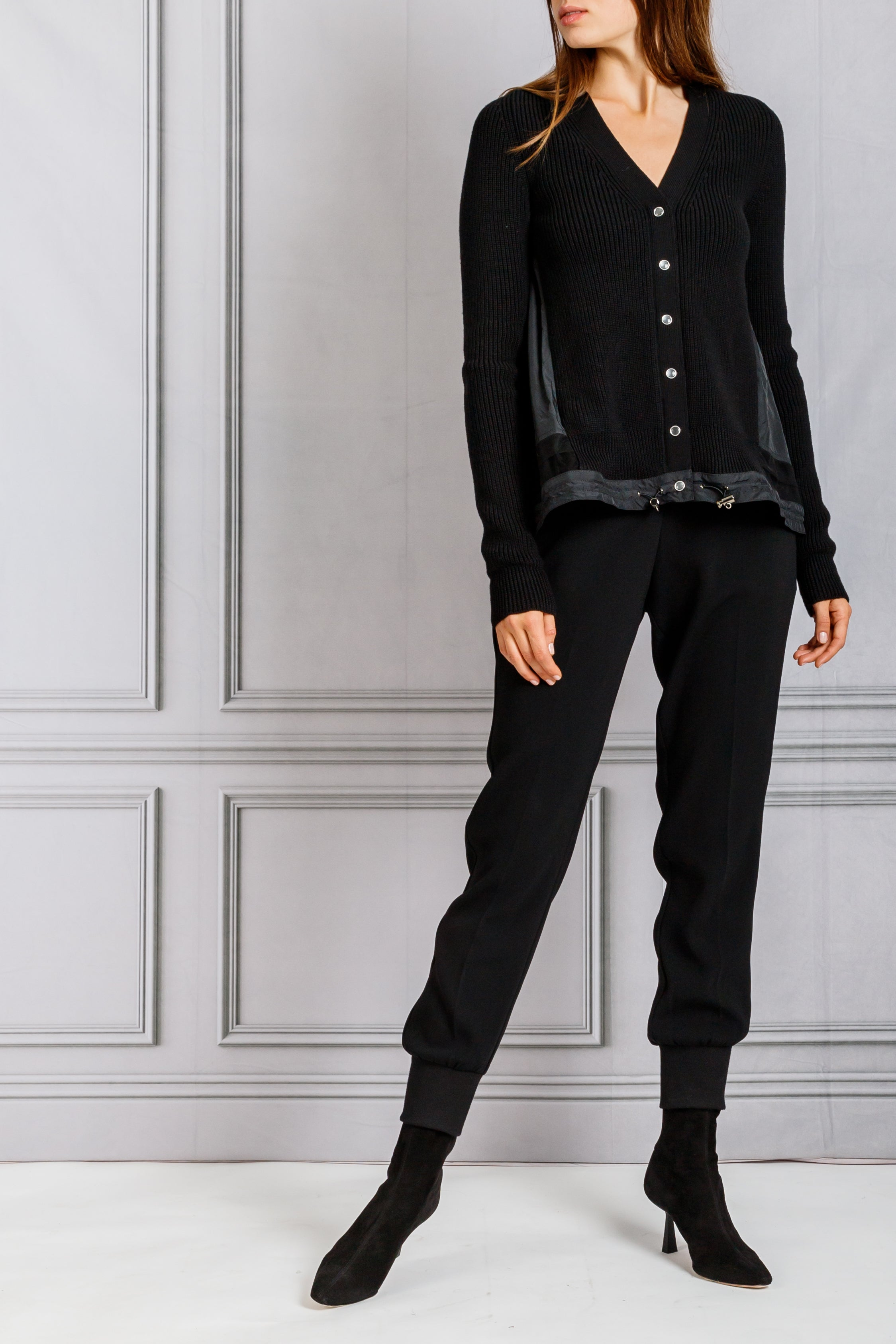 Contrast Cardigan Sweater with Embroidery Detail - Black