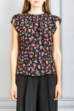 Load image into Gallery viewer, Namika Flutter Sleeve Blouse - Black Multi Mini Floral