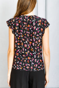 Namika Flutter Sleeve Blouse - Black Multi Mini Floral