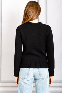 Long Sleeve Crewneck Sweater - Black