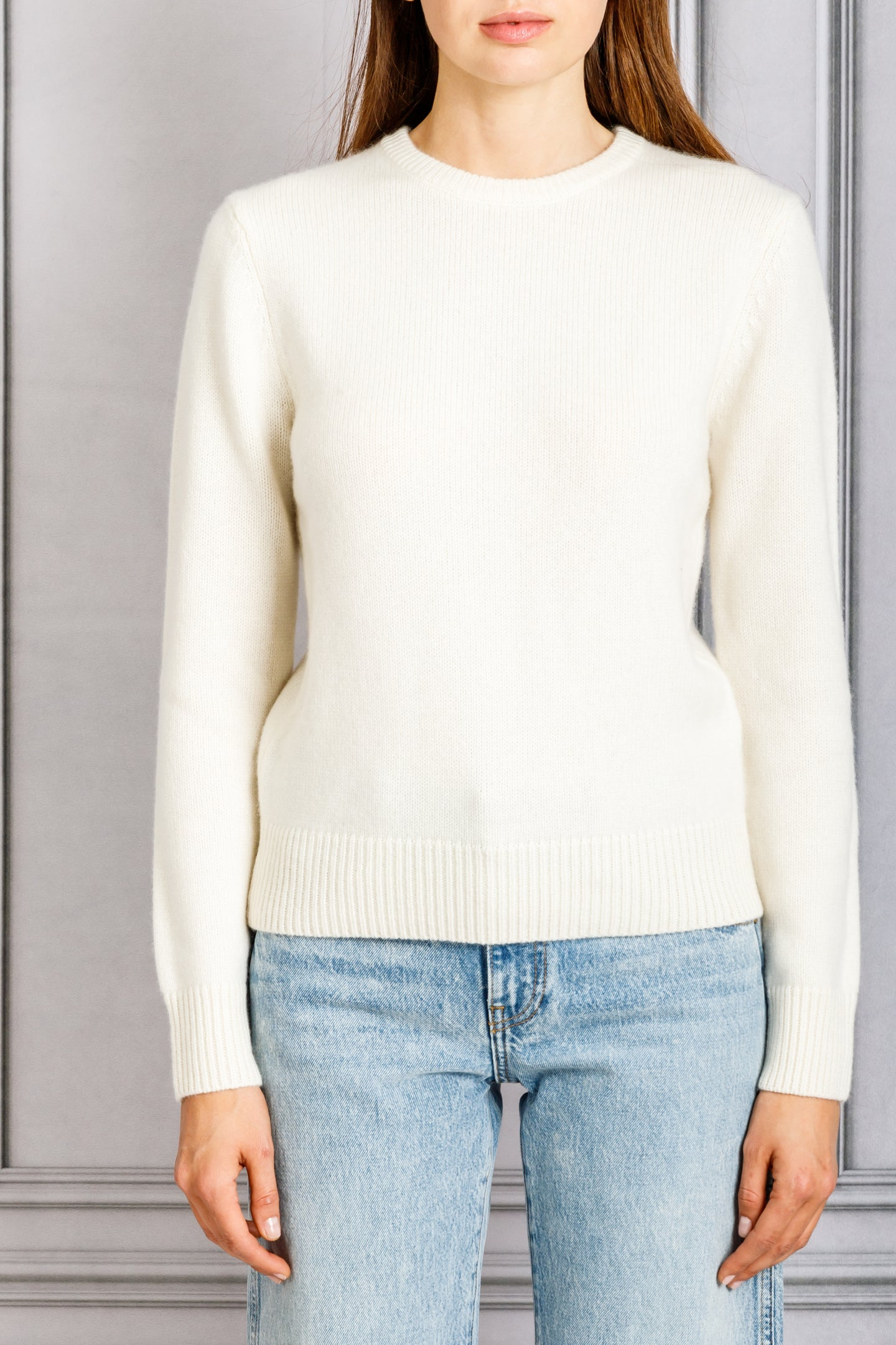 Long Sleeve Crewneck Sweater - Ivory