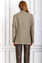 Load image into Gallery viewer, Charlene Houndstooth Wool Blazer - Blue/Brown