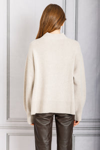 Osaka Side Slit Pullover Sweater - Light Beige