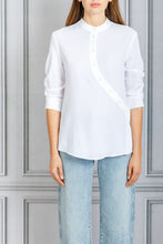 Load image into Gallery viewer, Kumi Curve Plaket Button Down Blouse - White