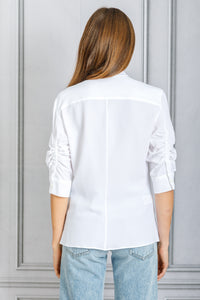 Kumi Curve Plaket Button Down Blouse - White