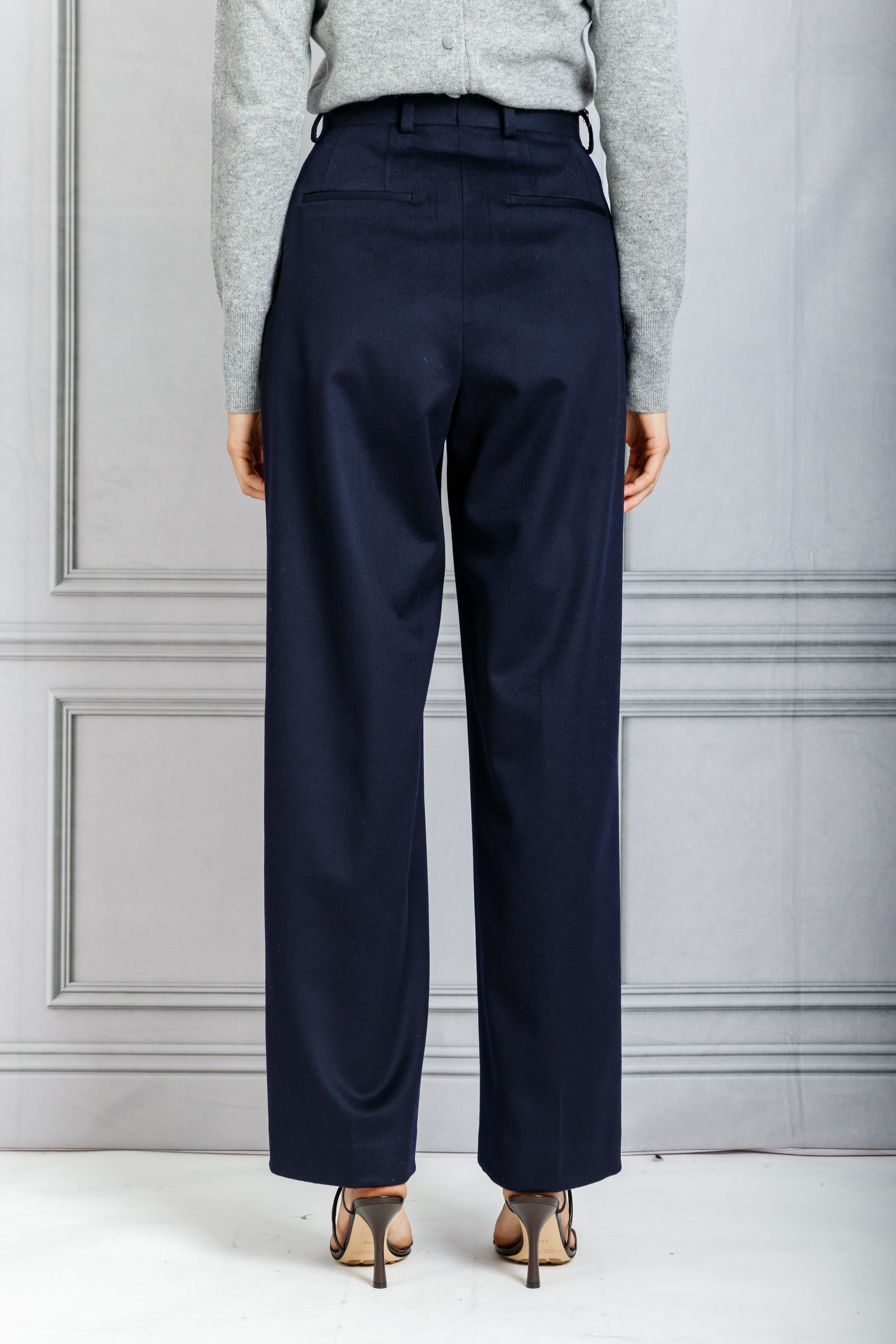 Sophie Front Pleat Full Leg Pant - Navy
