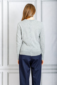 Yumi Crewneck Button Back Sweater - Moonmist Melange