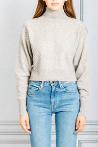 Madera Chevron Cropped Turtleneck Sweater - Brown