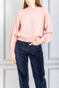 Modena Crewneck with Side Rib Detail Cropped Sweater - Pink
