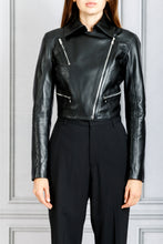Load image into Gallery viewer, Seijun Cropped Motorcycle Jacket - Black
