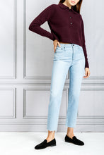 Load image into Gallery viewer, Knox Cropped Long Sleeve Knit Polo Top - Bordeax
