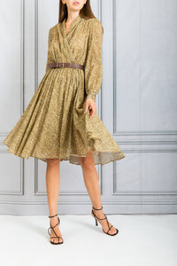 Printed Wrap Dress - Oro