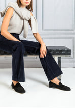 Load image into Gallery viewer, Dompay High Waist Flare Corduroy Pant - Marine