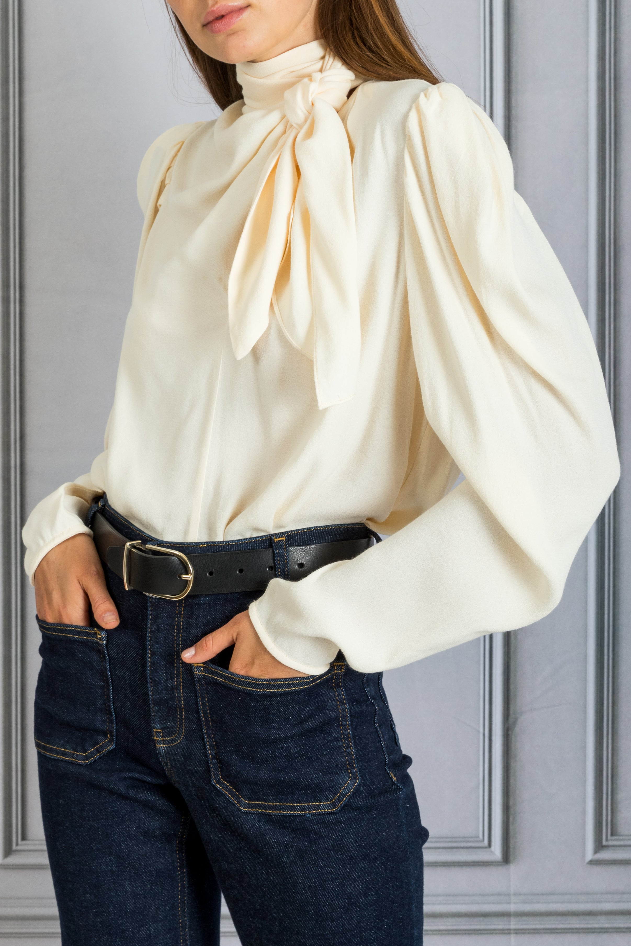Ivy Puff Sleeve Tie Blouse - Blanc