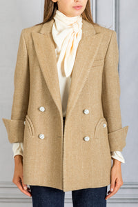 Lady Anne Herringbone Double Breasted Blazer - Beige