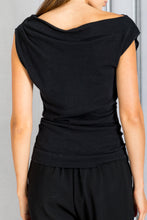 Load image into Gallery viewer, Cap Sleeve Drape Neck Knit Top - Black
