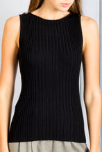 Load image into Gallery viewer, Shaila Ribbed Sleeveless Fitted Knit Top - Black